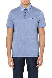 TED BAKER Lindob linen-collar polo shirt