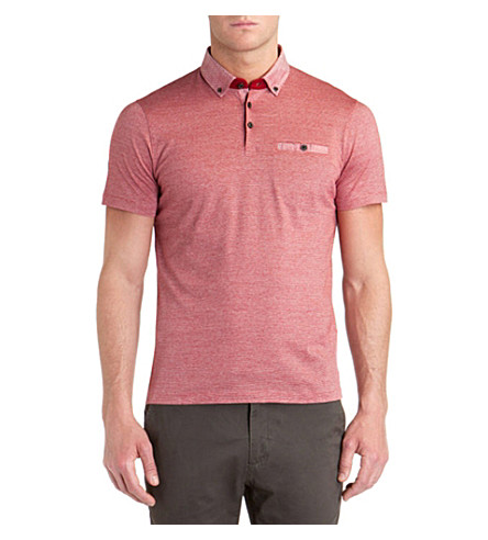 TED BAKER Lindob linen collar polo shirt (Red