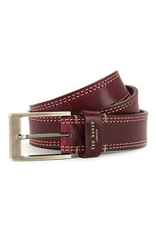 TED BAKER Crikitt cricket-stitch leather belt