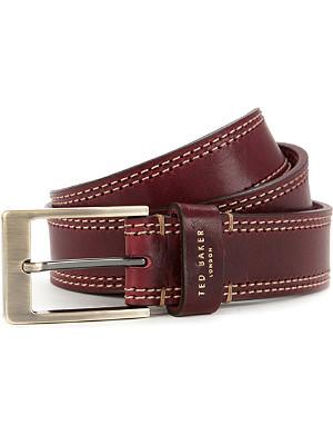 TED BAKER Crikitt cricket-stitch leather belt