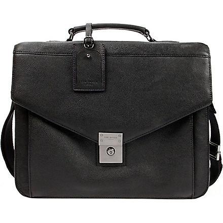 TED BAKER Lozzen push-lock leather briefcase (Black