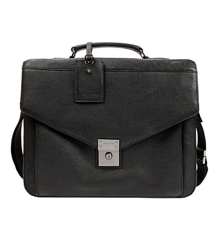 TED BAKER Lozzen push-lock leather briefcase (Black
