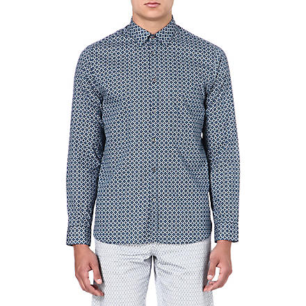 TED BAKER Single-cuff tile printed shirt (Blue