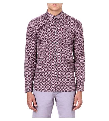 TED BAKER Single-cuff tile printed shirt (Red