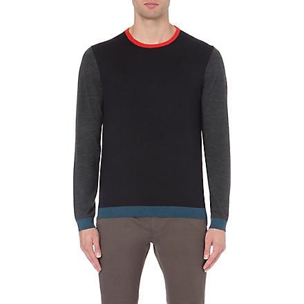 TED BAKER Basenew colour-blocked wool jumper (Navy