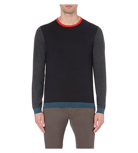 TED BAKER Basenew colour-blocked wool jumper (Navy