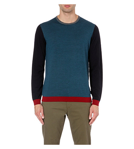 TED BAKER Basenew colour-blocked wool jumper (Teal