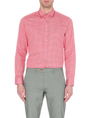 TED BAKER Tile-print regular cotton shirt
