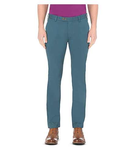 TED BAKER Slim-fit stretch-cotton chinos (Blue