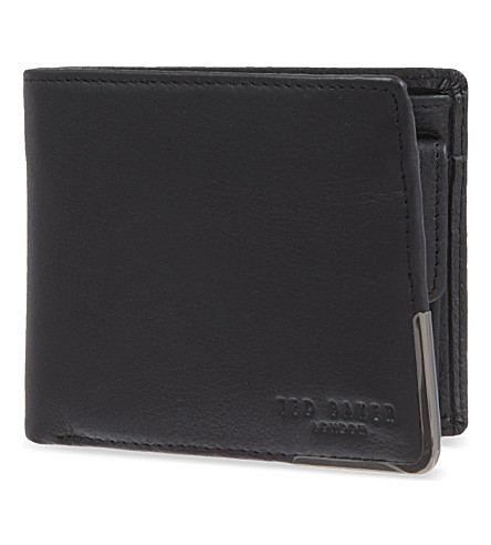 TED BAKER Metal corner billfold wallet and card holder (Black