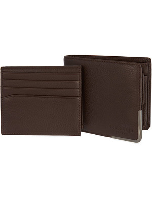 TED BAKER Metal corner billfold wallet and card holder