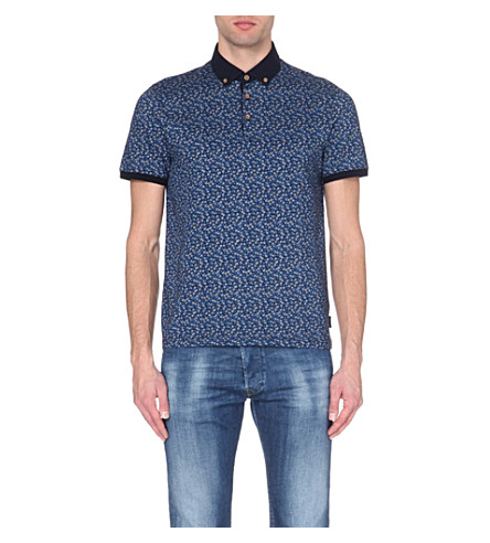 Ted baker floral print cotton polo shirt for Ted baker floral print shirt