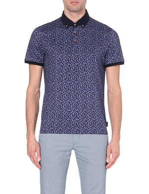TED BAKER Floral-print cotton polo shirt