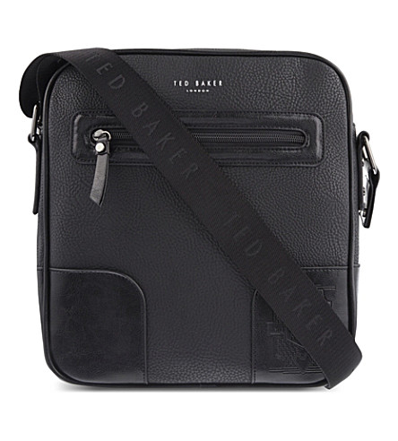 TED BAKER Embossed leather flight bag (Black