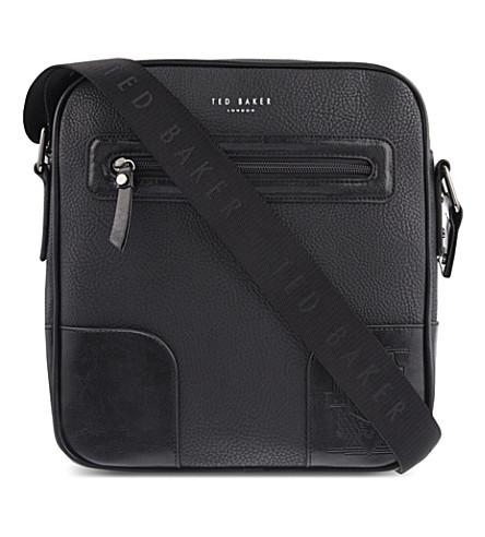 TED BAKER Embossed leather flight bag (Black
