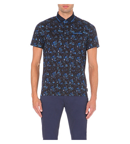 TED BAKER Tropical leaf-print cotton-jersey polo shirt (Blue