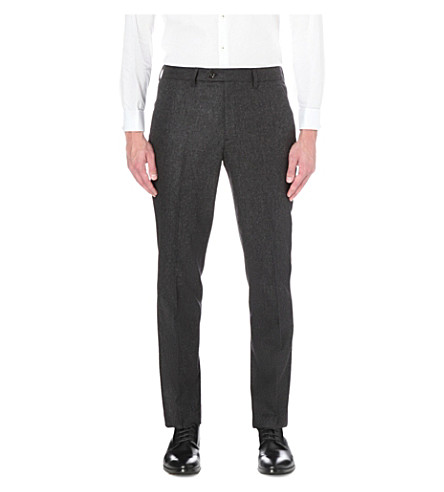 TED BAKER Micro design slim-fit wool-blend trousers (Grey