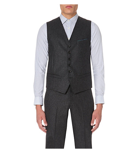 TED BAKER Mini design wool-blend and satin waistcoat (Grey