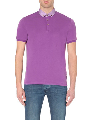 TED BAKER Teknow woven collar polo shirt