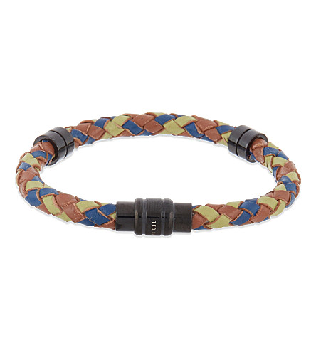 TED BAKER Thick leather bracelet (Navy