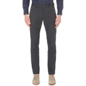 Regular-fit tapered cotton trousers