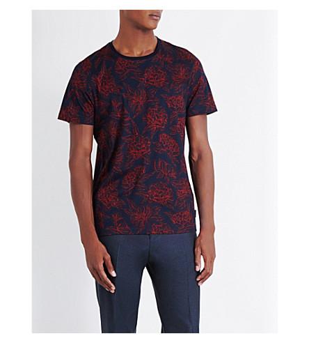 02e8cc4c8716ca TED BAKER Floral-print cotton-jersey T-shirt (Dark+orange