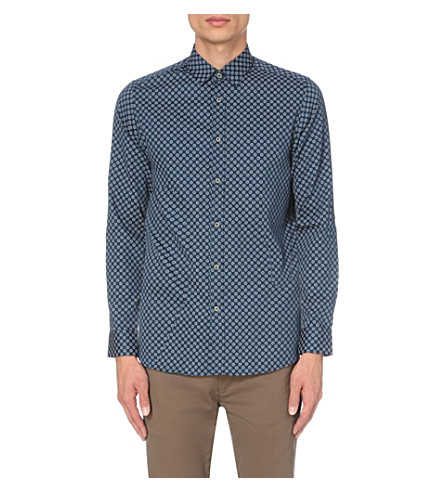TED BAKER Timbook hexagon-print cotton shirt (Blue