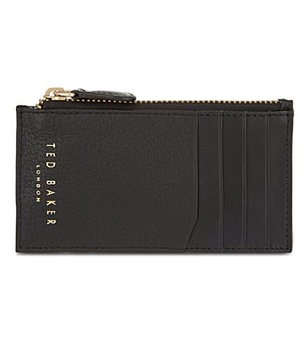 TED BAKER Halfsie zipped leather card holder (Black