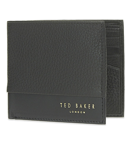 TED BAKER Mixed leather wallet (Black