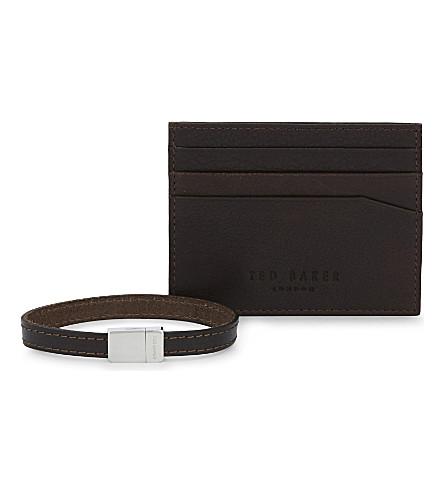 ted baker accsi leather card holder and bracelet set
