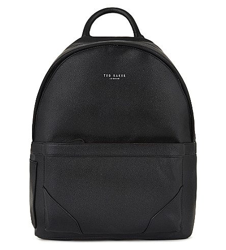 TED BAKER Zipped faux-leather backpack (Black