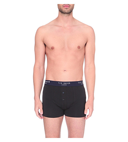 TED BAKER Button-front regular-fit stretch-cotton boxers (Black