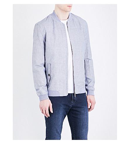 TED BAKER Rollin linen-blend bomber jacket (Blue