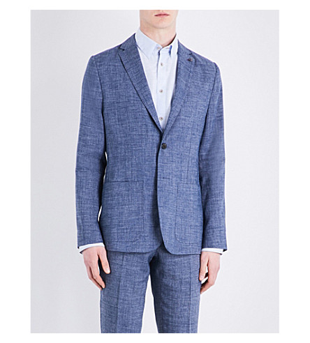 TED BAKER Regular-fit linen-blend jacket (Blue
