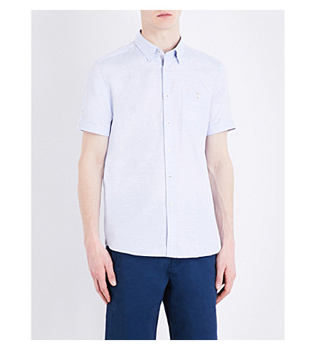 TED BAKER Slim-fit short-sleeved cotton and linen-blend shirt (Blue