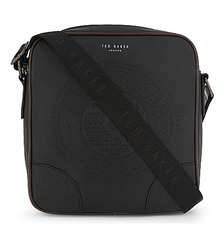 TED BAKER Newboss faux-leather flight bag (Black