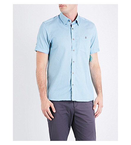 TED BAKER Lorenze mini-check cotton shirt (Green
