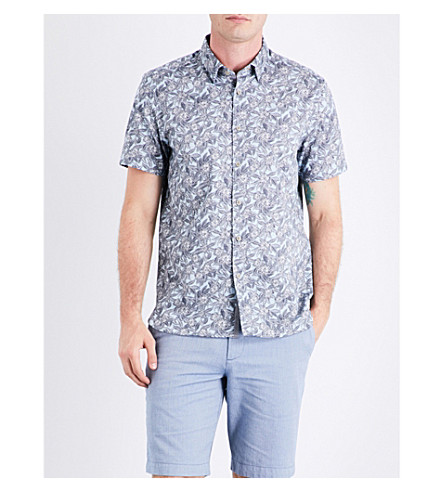 TED BAKER Terrier floral-print cotton shirt (Light+blue