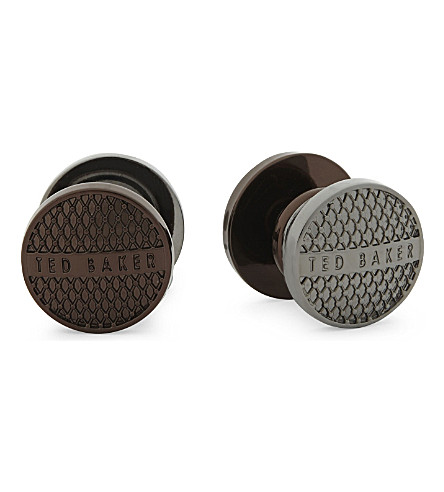 TED BAKER Ferdina reversible cufflinks (Chocolate