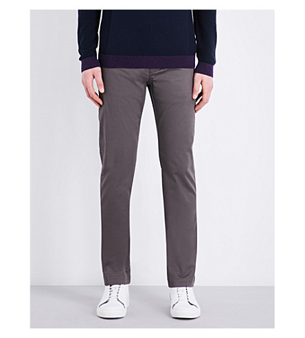 TED BAKER Micro-print modern-fit mid-rise stretch-cotton trousers (Grey