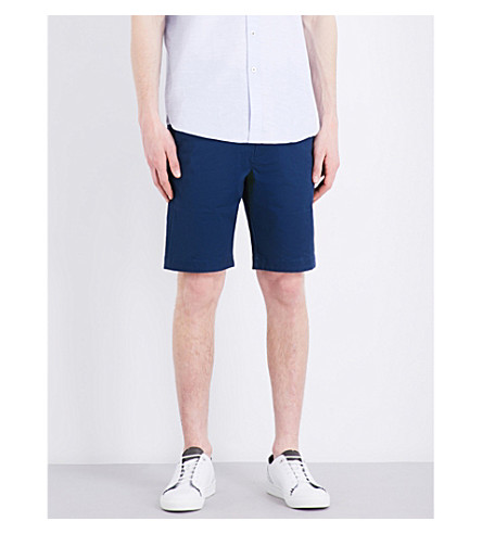 TED BAKER Regular-fit mid-rise stretch-cotton shorts (Dark+blue