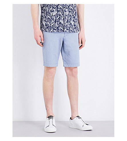 TED BAKER Mysho herringbone-weave cotton shorts (Blue