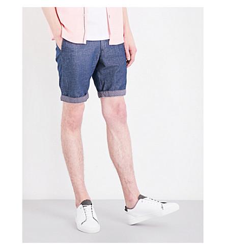 TED BAKER 常规版型棉和亚麻混纺短裤 (海军
