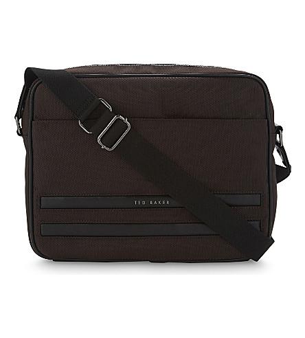 TED BAKER Iccube nylon messenger bag (Chocolate