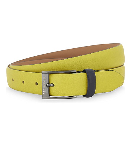 TED BAKER Centre leather belt (Lime
