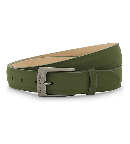 TED BAKER Seal split leather belt (Green