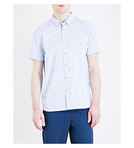 TED BAKER Tropic embroidered regular-fit cotton shirt (Blue