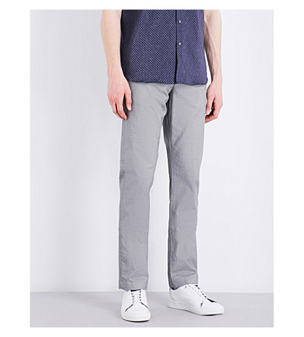 TED BAKER micro-pattern classic-fit tapered stretch-cotton trousers (Grey