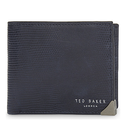 TED BAKER Zillaa reptile-embossed leather wallet (Navy