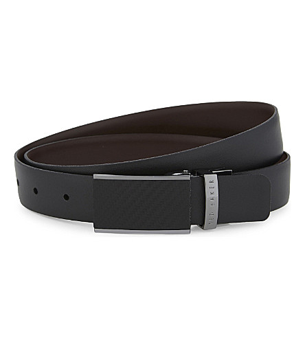 TED BAKER Reversible carbon fibre buckle leather belt (Black